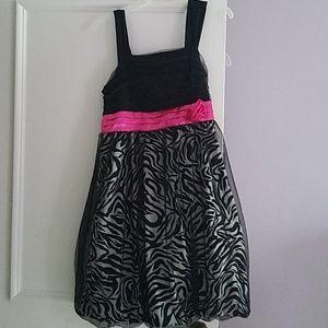 Girls Black/Zebra Print Dress